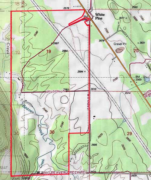 Montana ranch topography map